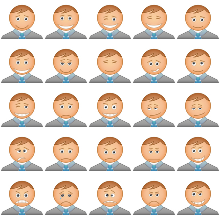Smilies business change in suits and ties, symbolising various human emotions, set  Vector Vector