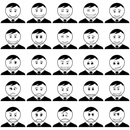 choleric: Set of smileys symbolizing various human emotions: men of business change in suits and ties, black contour on white background. Vector
