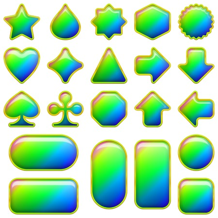 Set of glass buttons different forms, all colors of the rainbow, elements for web design. Vector eps10, contains transparencies Vector