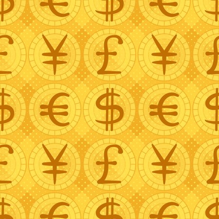 Abstract seamless background with currency signs: dollar, euro, pound, yen. Vector eps10, contains transparencies Vector