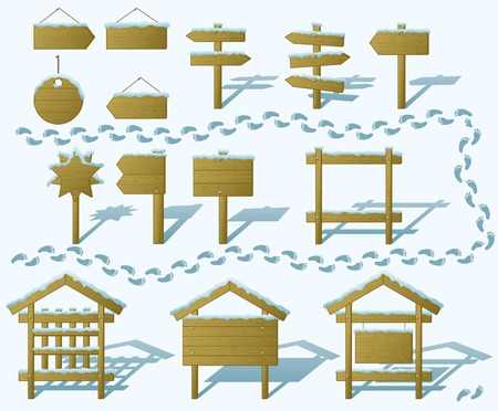 Set of wood board billboards and signs under winter snow. vector Vector