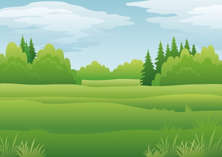coppice: landscape, summer green forest and blue sky with clouds. Vector