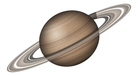 cosmology: Realistic planet Saturn isolated on white background.