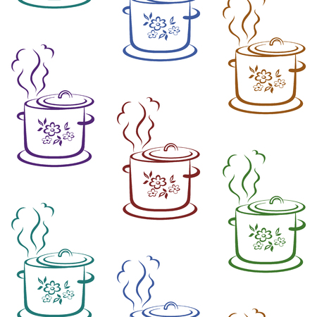 Seamless with pictograms of kitchen pans with flower covers. Vector