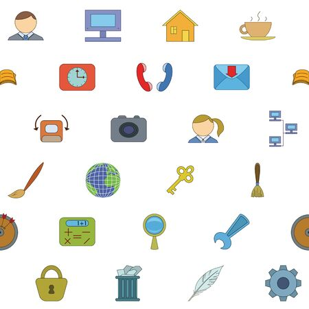Seamless background with various icons, computer signs and buttons. Vector Vector