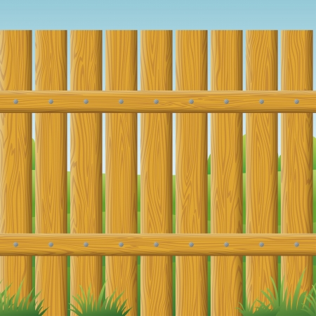 bucolical: Natural wooden fence wall and landscape behind it, seamless background. Vector Illustration