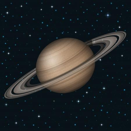 Fondo del espacio, planeta realista Saturno y las estrellas.