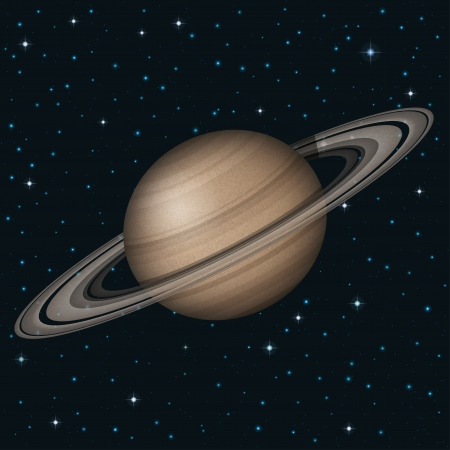 Space background, realistic planet Saturn and stars. Illustration