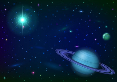 Fantastic space background with unexplored blue planet with ring, satellite, sun, stars and nebulas.  Vector