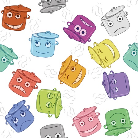 choleric: Seamless background with funny smilies boiling pans symbolising various human emotions. Vector