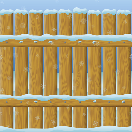 Seamless background, natural wooden fence wall under the snow and winter landscape behind it. Vector
