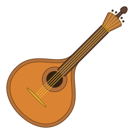 lute: Mandolin, cartoon vintage stringed musical instrument of troubadours and performers of serenades, isolated on white background. Vector