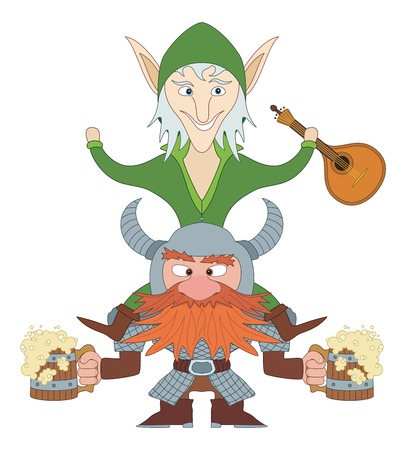 drunkard: Drunken friends, fantasy heroes celebrating a successful campaign. Dwarf with beer mugs and elf sitting on dwarf with mandolin, funny comic cartoon characters. Vector Illustration