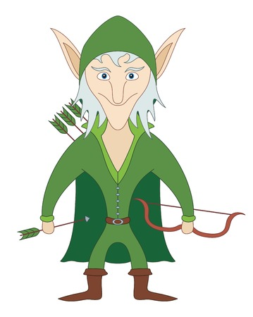 chap: Elf archer standing with bow and arrows and smiling, funny comic cartoon character. Vector