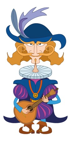 minstrel: Noble cavalier in an old fashioned costume serenades, playing on the mandolin for his lover, funny comic cartoon character. Vector Illustration