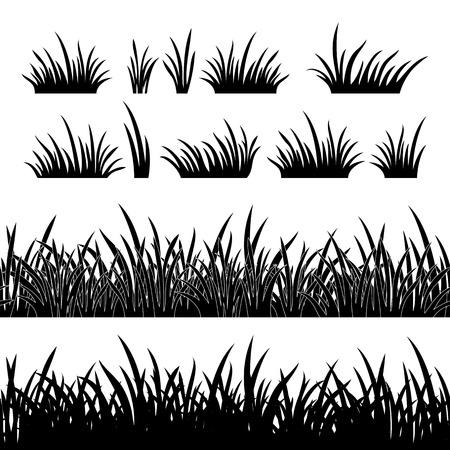 行シームレス、草、白い背景で隔離のデザイン、黒いシルエットの要素のセット。ベクトル