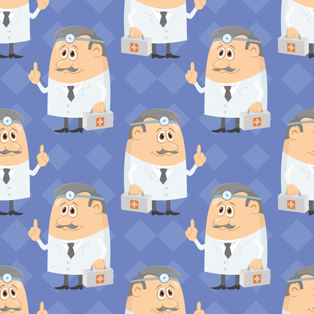 physiotherapist: Seamless background with doctors with first-aid kits and head mirrors, cartoon characters on blue abstract pattern. Vector