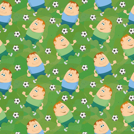 Seamless background with soccer sportsmans running with balls, cartoon characters on green abstract pattern. Vector Vector