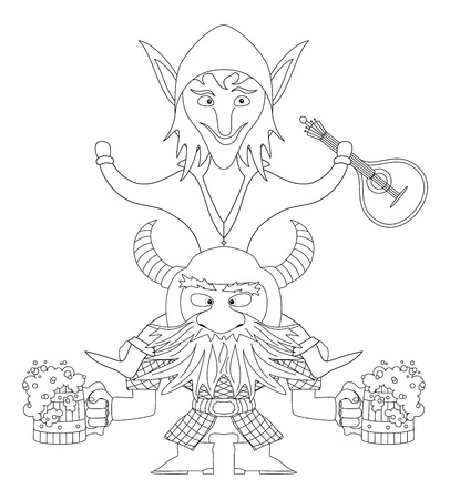 drunkard: Drunken friends, fantasy heroes celebrating a successful campaign. Dwarf with beer mugs and elf sitting on dwarf with mandolin, funny comic cartoon characters, black contour. Vector Illustration