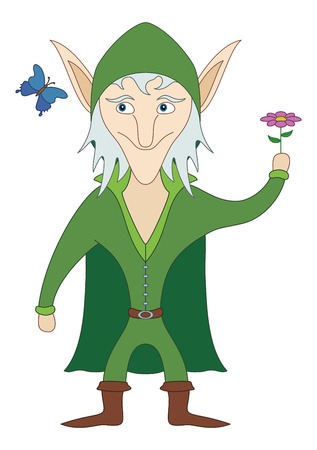 chap: Elf standing with flower in his hand and looking on butterfly, funny comic cartoon character. Vector Illustration