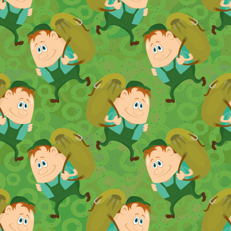 Seamless background with tourists with backpacks, cartoon characters on green background with abstract pattern. Vector Vector