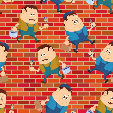 adjuster: Seamless background with workers with pliers and toolboxes and painters with brushes and buckets, cartoon characters on a brick wall. Vector