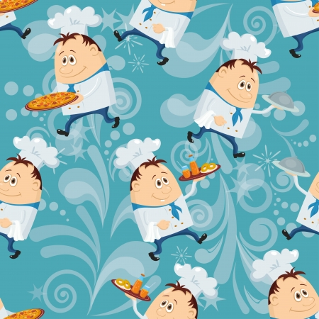 Seamless pattern with cooks with dishes, cartoon characters on blue abstract background. Eps10, contains transparencies. Vector Vector