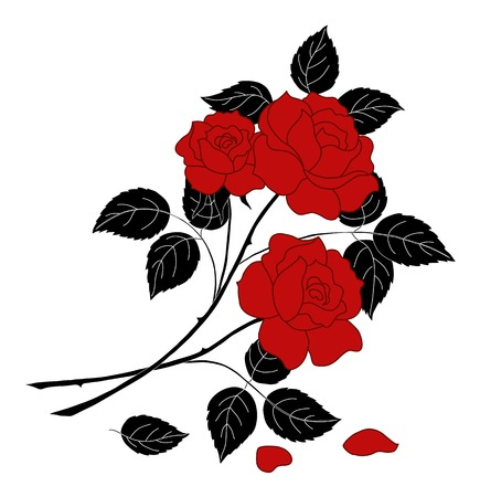 Flowers, rose bouquet with red buds and petals and black stems and leaves, silhouette on white background. Vector