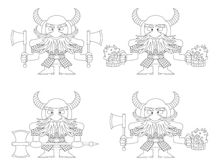 Dwarfs warriors in armor and helmets standing with beer mugs and axes, comic cartoon characters, set, black contour on white background. Vector Vector