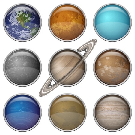 Set of isolated space buttons with planets of Solar System - Mercury, Venus, Earth, Mars, Jupiter, Saturn, Uranus, Neptune and Pluto. Elements of this image furnished by NASA (http://solarsystem.nasa.gov). Eps10, contains transparencies. Vector Vettoriali