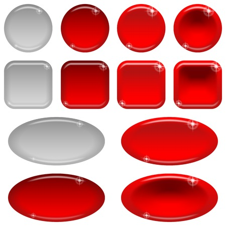 clicked: Set of glass red buttons, computer icons, in various states - normal, illuminated, clicked, inactive.