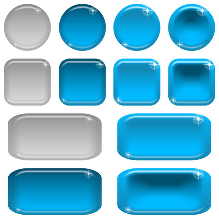 blue buttons: Set of glass blue buttons Illustration