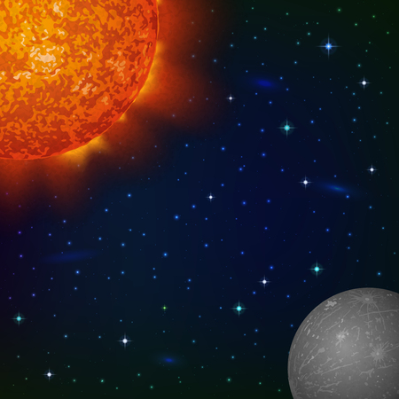 protuberances: Space background with planet Mercury, Sun, stars and nebulas Illustration