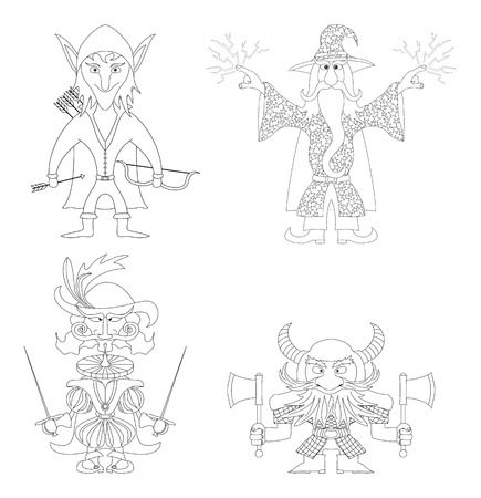 mighty: Fantasy brave heroes: elf archer, dwarf warrior, cavalier fencer and mighty wizard, funny comic cartoon characters set, black contour on white background. Vector Illustration