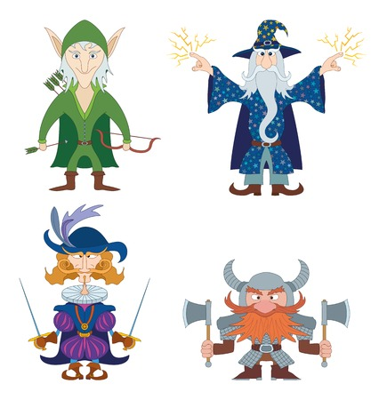 cavalier: Fantasy brave heroes: elf archer, dwarf warrior, cavalier fencer and mighty wizard, funny comic cartoon characters set. Vector