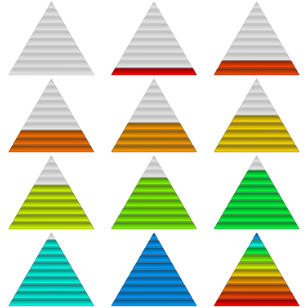 Set of triangle glass colorful loading progress bars at different stages, elements for web design.  Vector