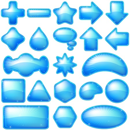 Set blue icons, computer buttons different forms, contains transparencies. Vector Vector
