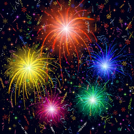 Firework, bright color flashes, sparks, stars and streamers on black background, element for web holiday design.  Vector