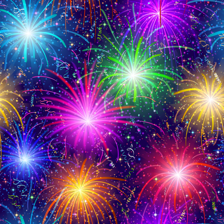 Firework background seamless of various colors. Pattern for holiday design.