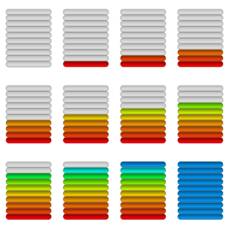 Set of glass colorful loading progress bars at different stages, elements for web design.  Vector