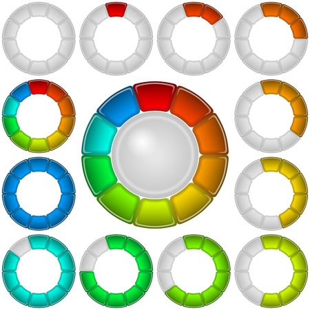 Set of round glass colorful loading progress bars of rings at different stages Vector