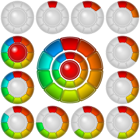 Set of round glass colorful loading progress bars of rings at different stages, elements for web design. Vector