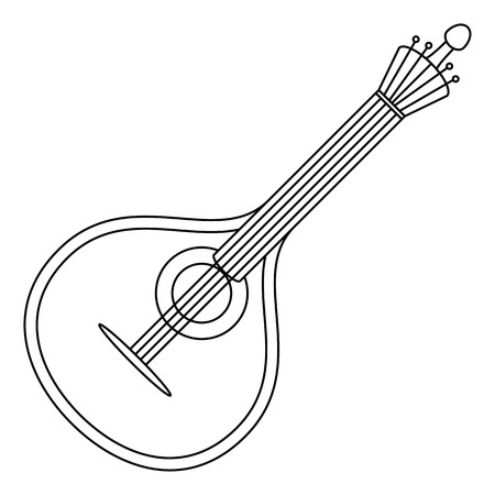lute: Mandolin, cartoon vintage stringed musical instrument of troubadours and performers of serenades, black contour on white background.