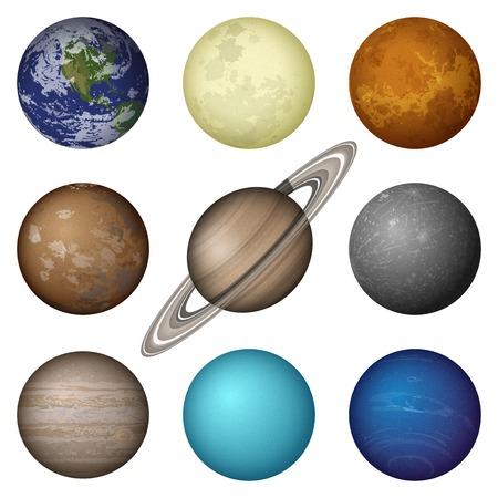 Space set of isolated planets of Solar System - Mercury, Venus, Earth, Mars, Jupiter, Saturn, Uranus, Neptune and Moon.  Vector