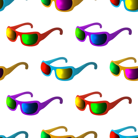 Seamless background of sunglasses for protection from summer sun light with glasses of various colors. Stock Vector - 25468870