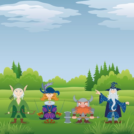 hauberk: Fantasy brave heroes  elf archer, cavalier fencer, dwarf warrior and old wizard standing in forest and preparing to epic battle, funny comic cartoon characters  Vector