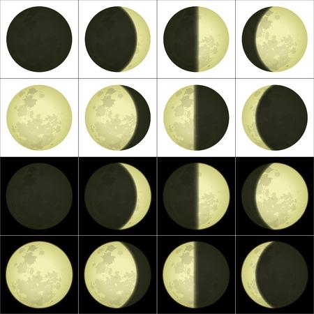 Ruimte illustratie van de belangrijkste maanstanden op zwarte en witte achtergrond
