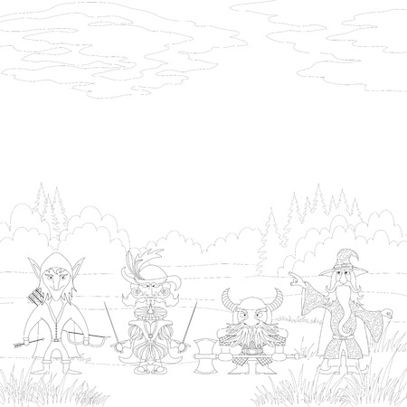 Fantasy brave heroes  elf archer, cavalier fencer, dwarf warrior and old wizard standing in forest and preparing to epic battle, funny comic cartoon characters, black contour on white background  Vector Vector