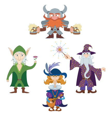 minstrel: Fantasy heroes resting and having fun  elf with flower, dwarf with beer mugs, wizard with fireworks and cavalier playing on mandolin, funny comic cartoon characters set  Vector Illustration