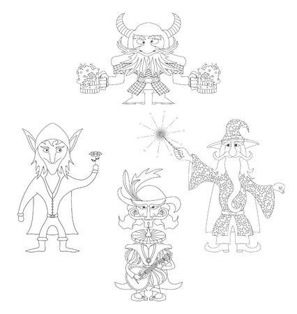 minstrel: Fantasy heroes resting and having fun  elf with flower, dwarf with beer mugs, wizard with fireworks and cavalier playing on mandolin, funny comic cartoon characters, contour on white background  Vector